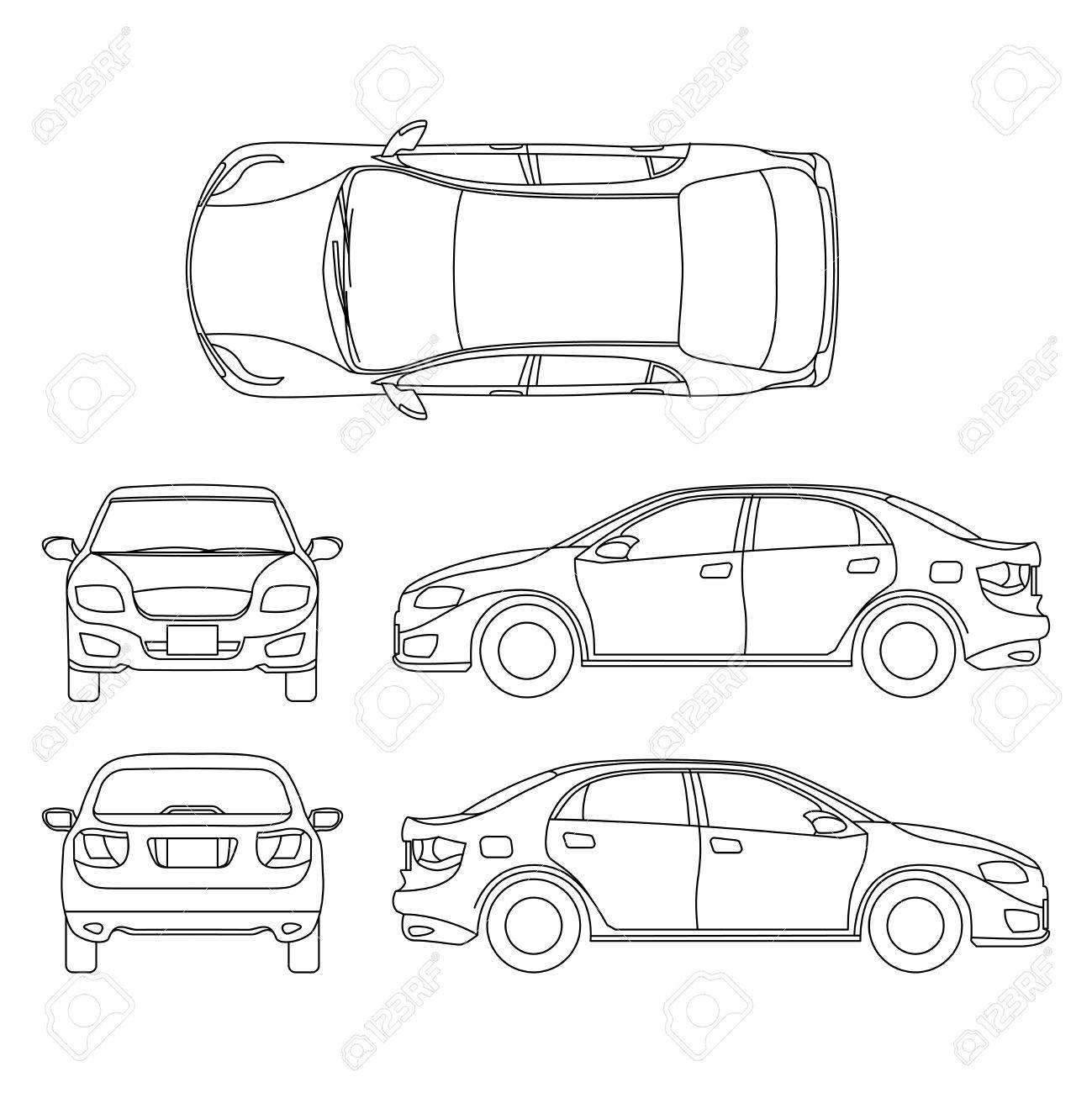 Outline Sedan Car Vector Drawing In Different Point Of View ...