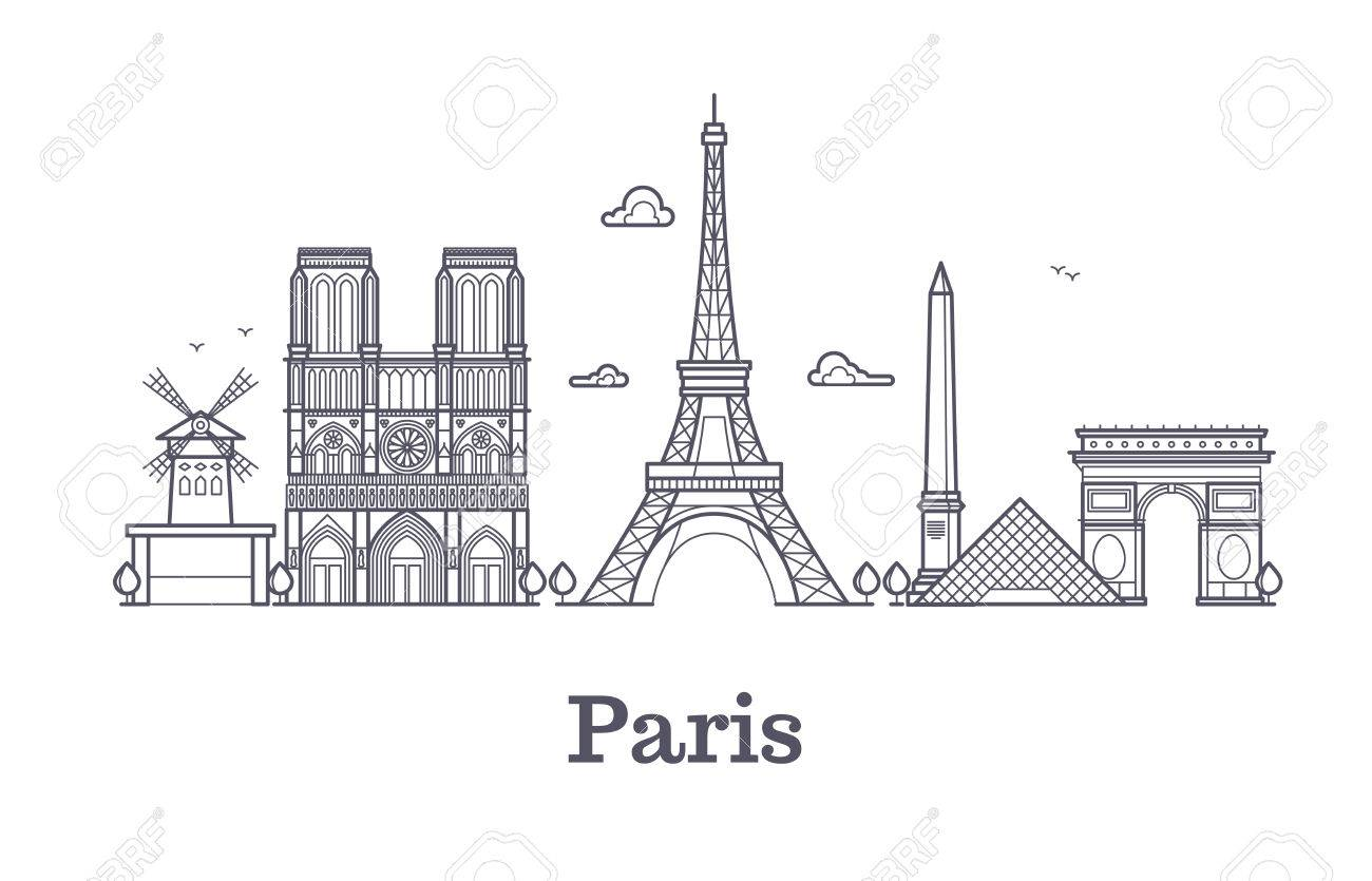 Paris Skyline Outline Line Wiring Diagrams 5x Copper Clad Laminate Circuit Board Plate Pcb Fr2 Panel Size 12x18cm French Architecture Panorama City Vector Rh 123rf Com Boston