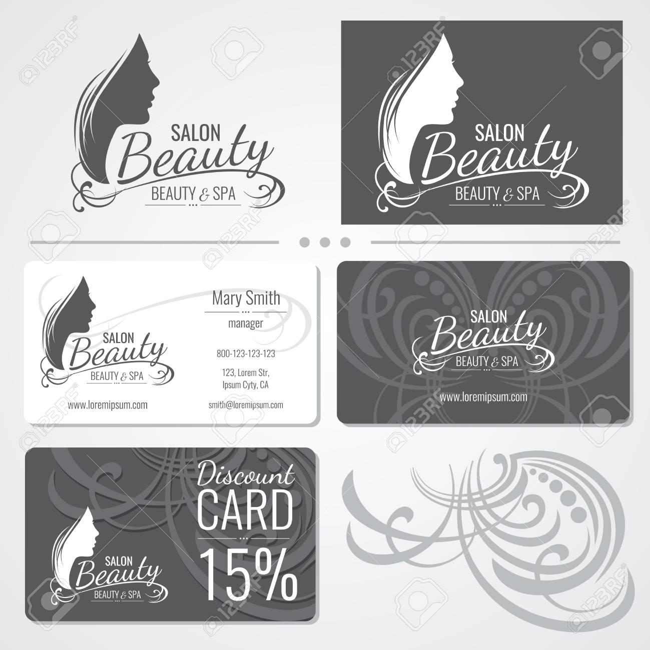 Modles De Carte Visite Salon Beaut Vector Avec Logo Silhouette Belle Femme Visage Illustration Du La
