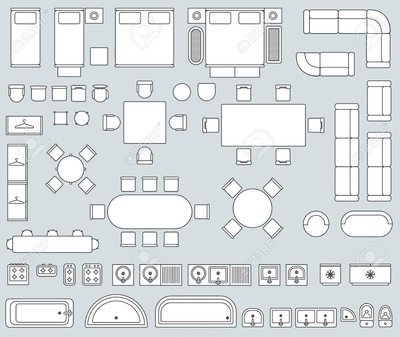 Top View Interior With Line Furniture Icons Vector. Set Of Furniture ...