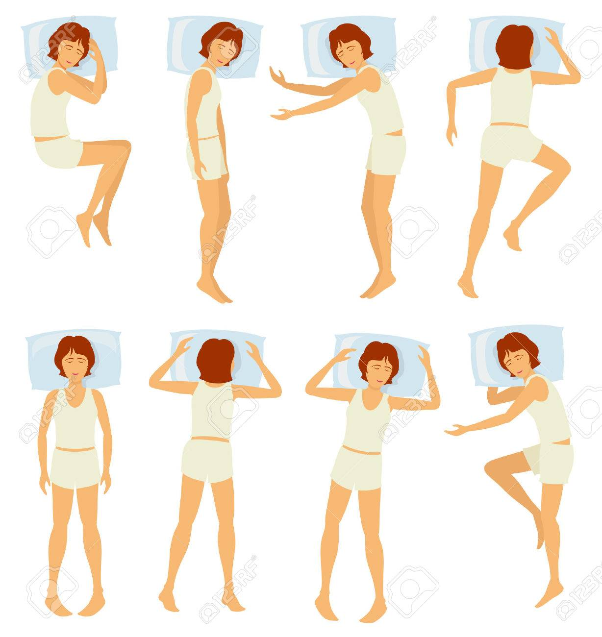 寝室 ベクトルのセットでさまざまなポーズで女性の睡眠リラックス