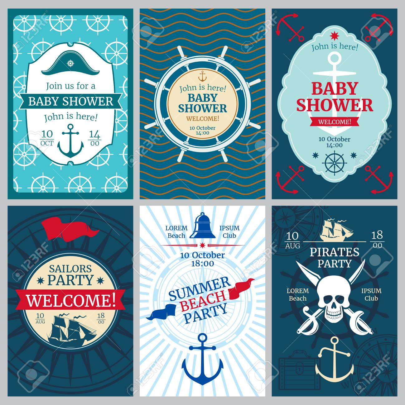 Nautical Baby Shower, Birthday, Beach Party Vector Invitation ...