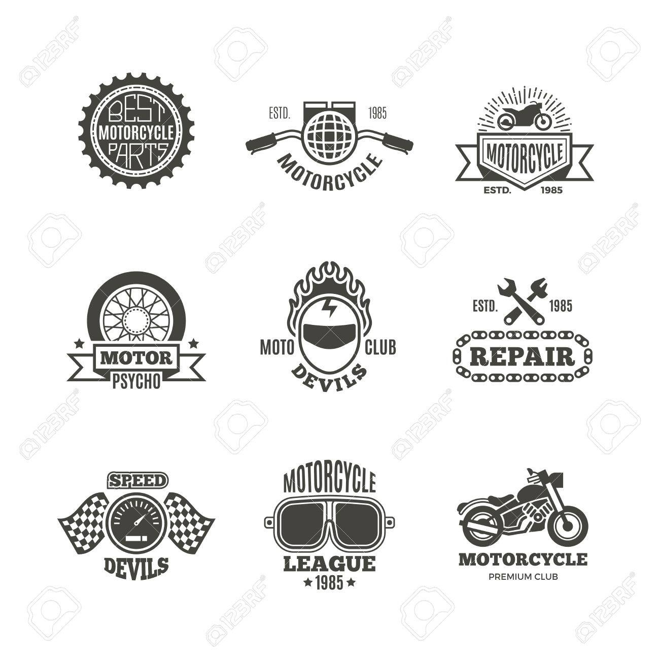 Race, motorcycle, motorbike repair vector retro labels, logo,