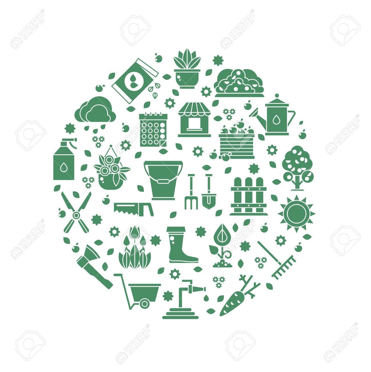 Logo Vectoriel Jardinage Avec Des Icônes D\'outils De Jardin. Outils ...