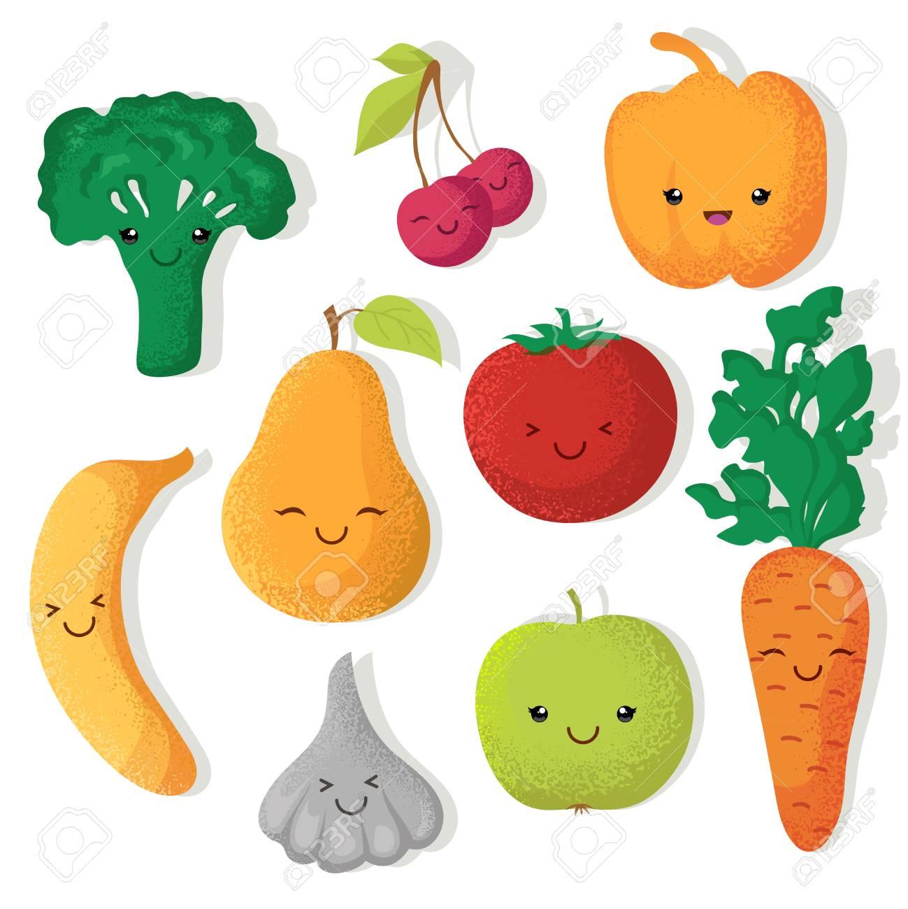Dibujos Animados Divertidos Frutas Y Verduras Vectores Personajes Ilustración De Frutas Y Verduras Tomate Y Pera