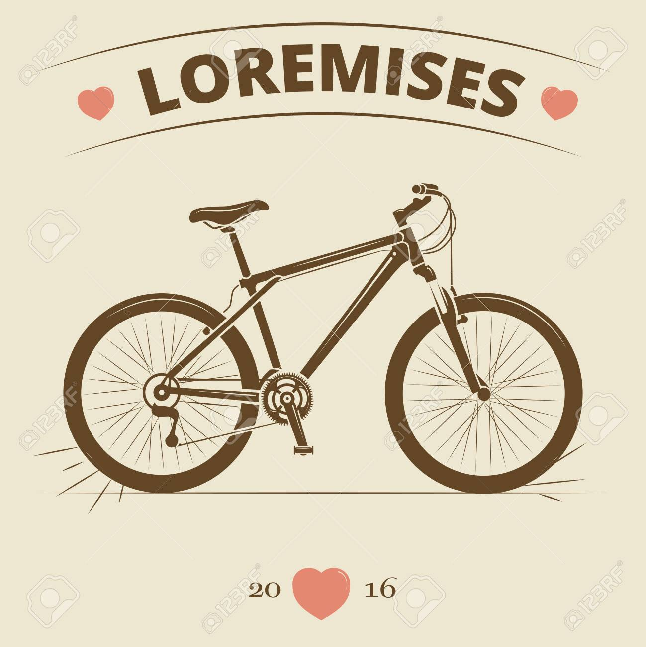 Logo Della Bicicletta Vintage O Design Di Stampa Banner O Poster Di Bici Retrò Illustrazione Vettoriale