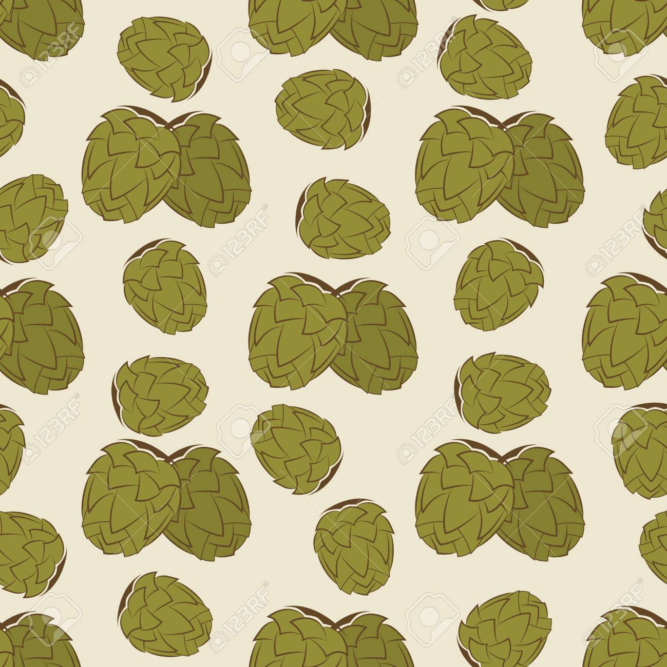 Green Hop Seamless Pattern Design Vintage Texture With Hand