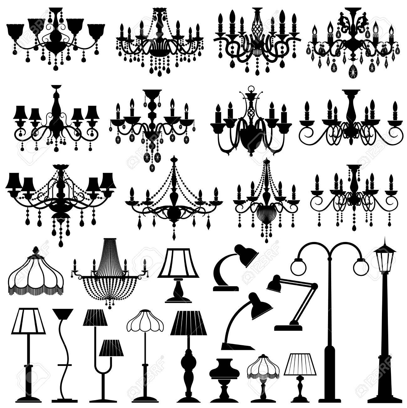 Home and outdoor lightning, lamps and chandeliers vector set. Black silhouette lamp chandelier and table lamp illustration - 78451375
