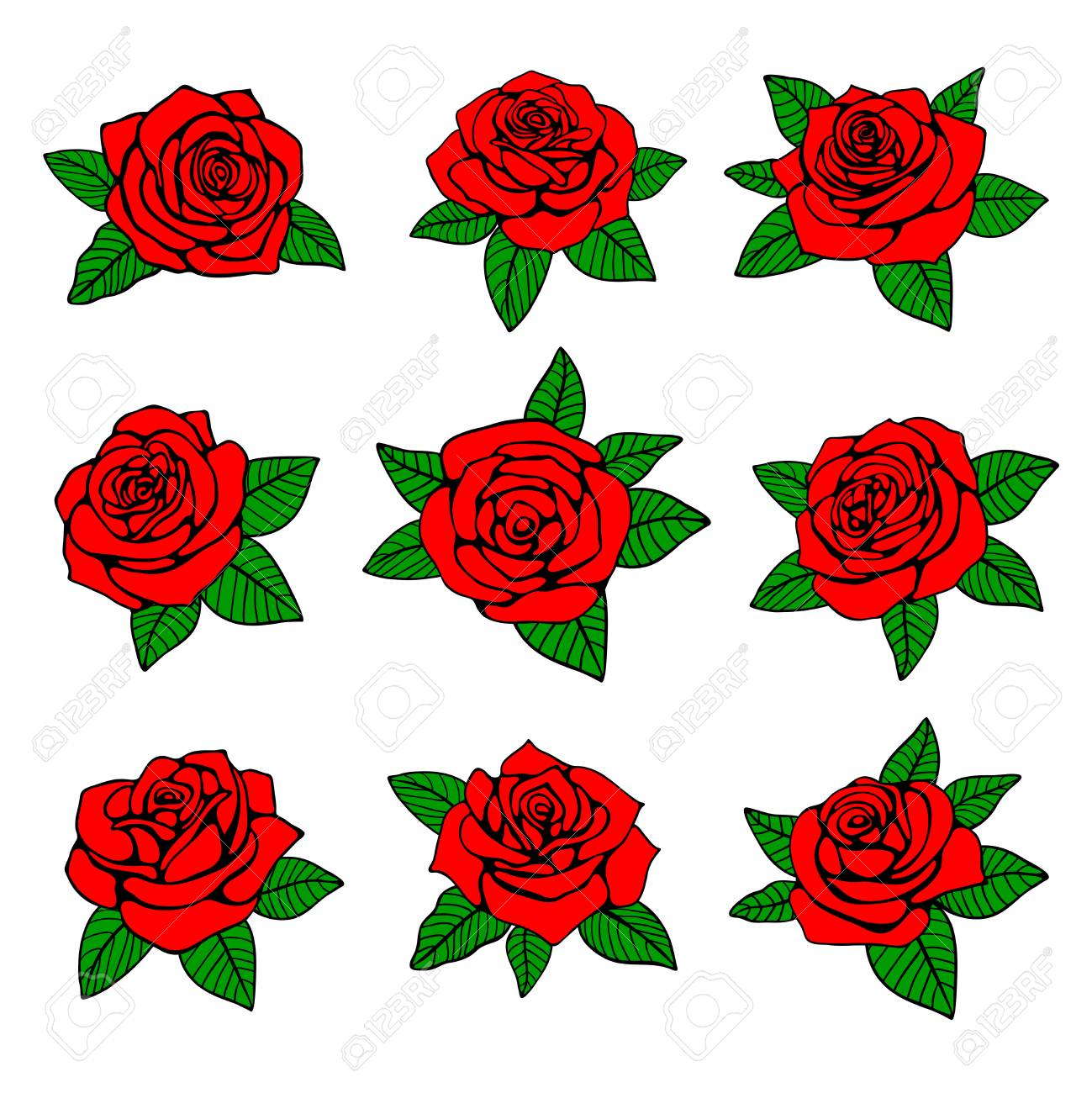 e3d3c39860456 Red roses with green leaves vector design for tattoo. Nature red rose, with  green