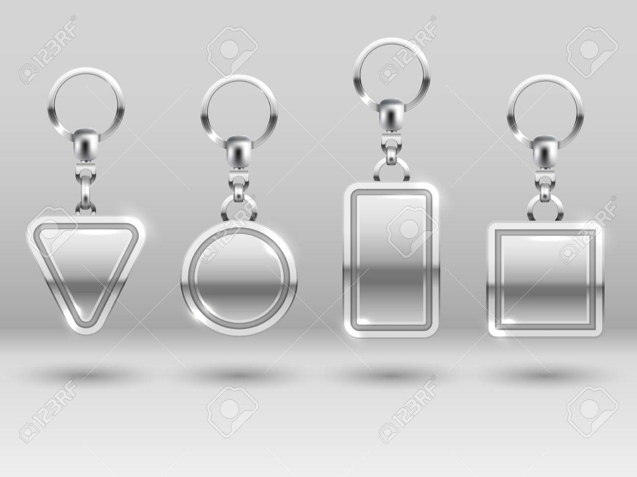 Silver Keychains In Different Shapes For House Door Vector ...