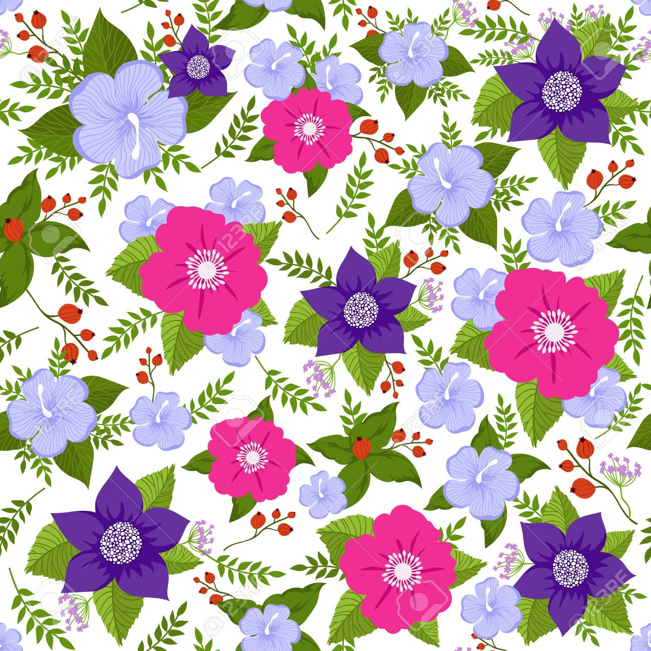 Abstract Flower Vector Seamless Background Summer Floral Endless