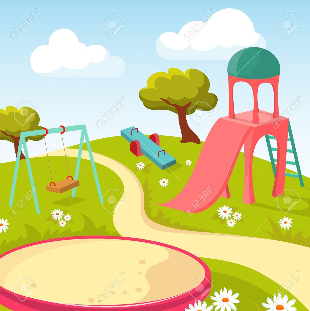 Recreación Parque Infantil Con Equipo De Juego Ilustración Vectorial Parque Infantil Para Juegos Recreativos