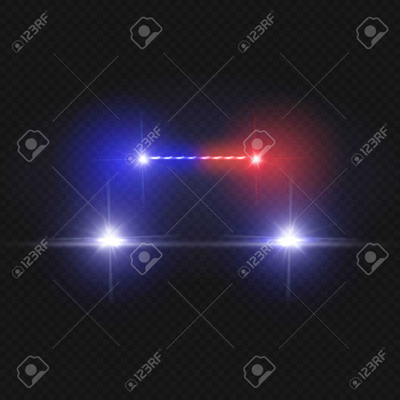 Police car headlights and blinking red siren lights isolated