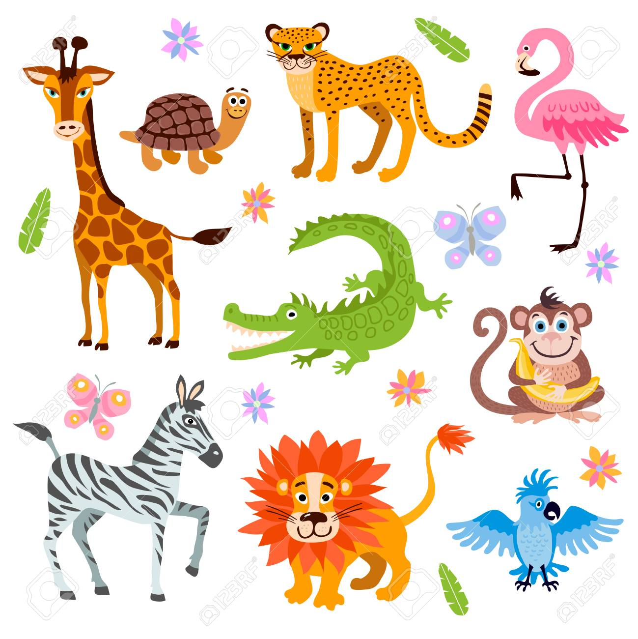 cute jungle animals vector set for kids book cartoon jungle animal illustration of animals - Pictures Of Animals For Kids