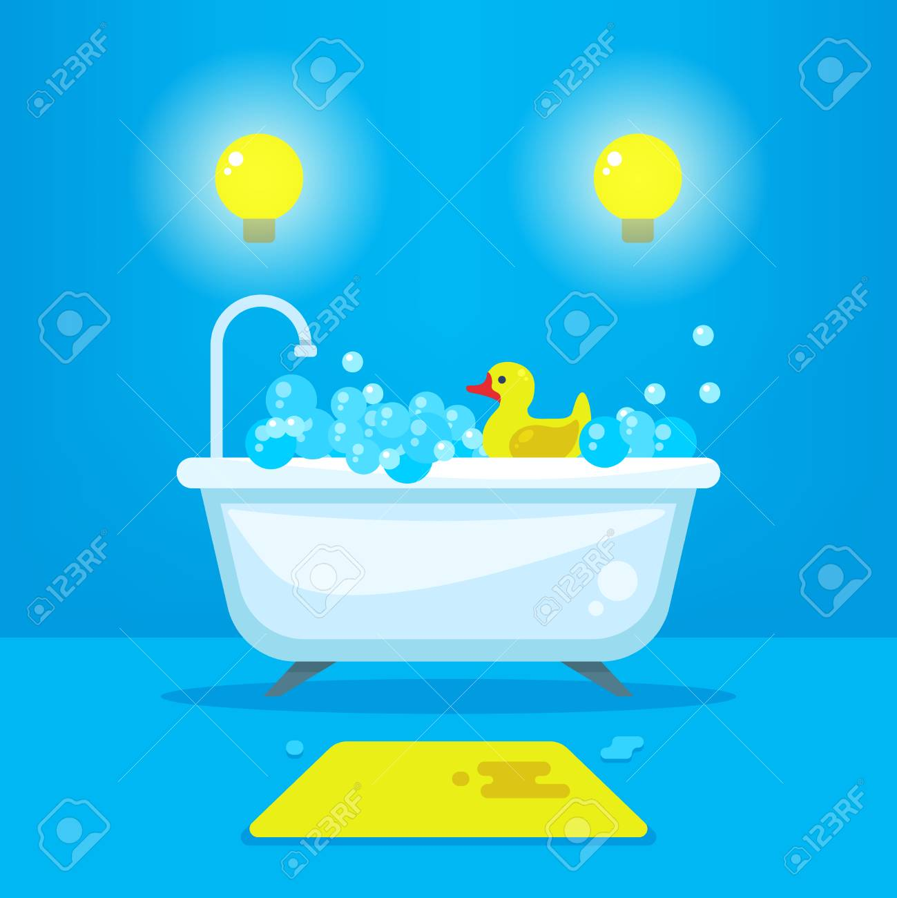 Vector Relax In Bathroom Concept Background. Bathtub With Bubbles ...