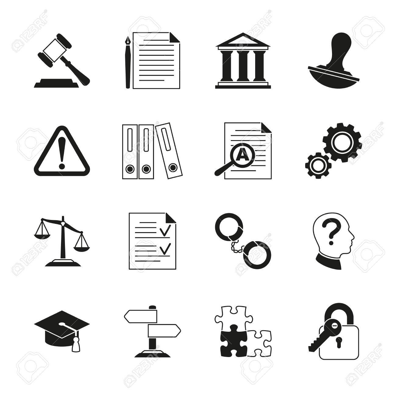Law Consulting Legal Compliance Vector Icons Policy And Regulations Pictograms Illustration Stock