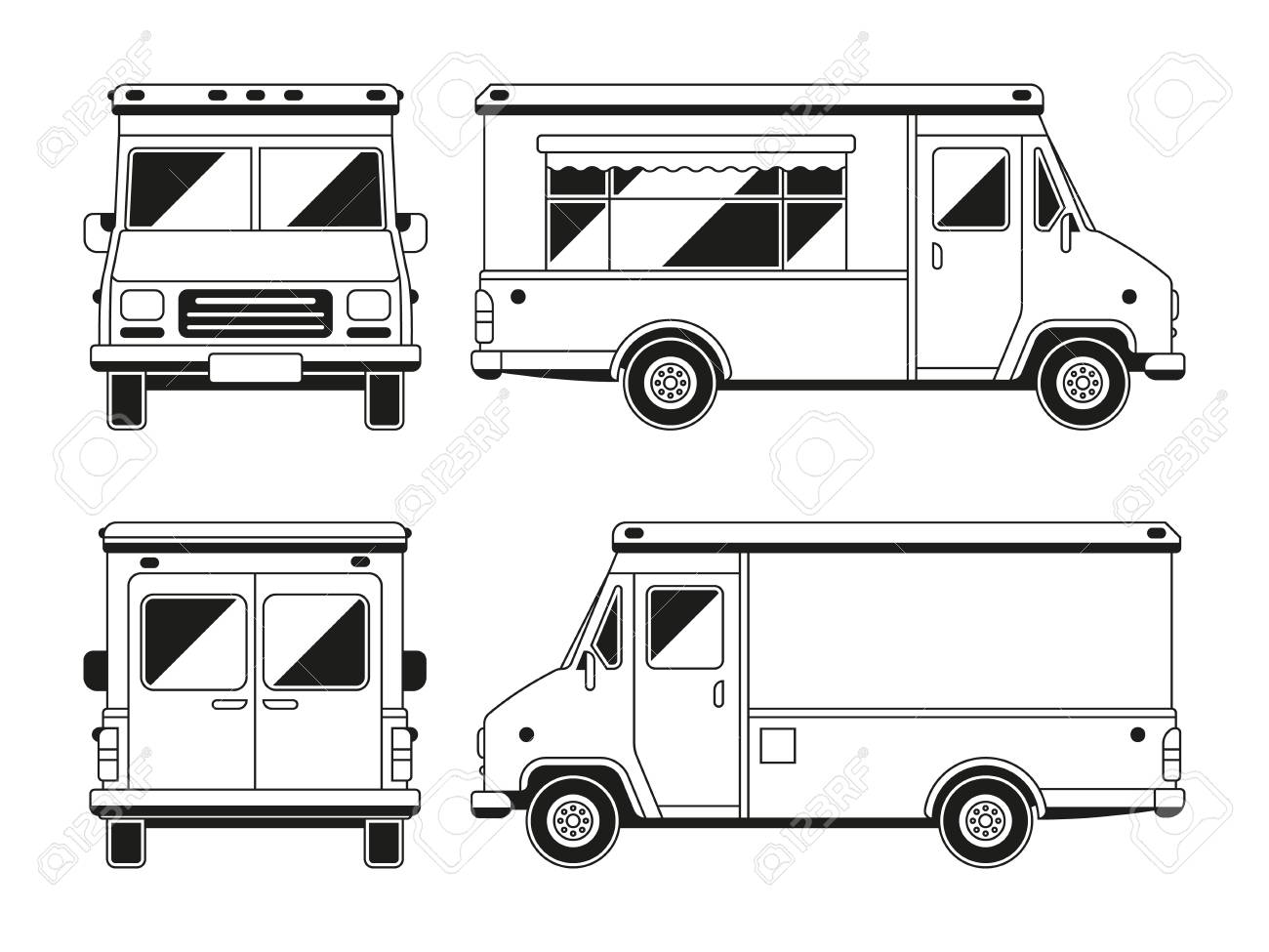 blank commercial food truck in different points of view outline