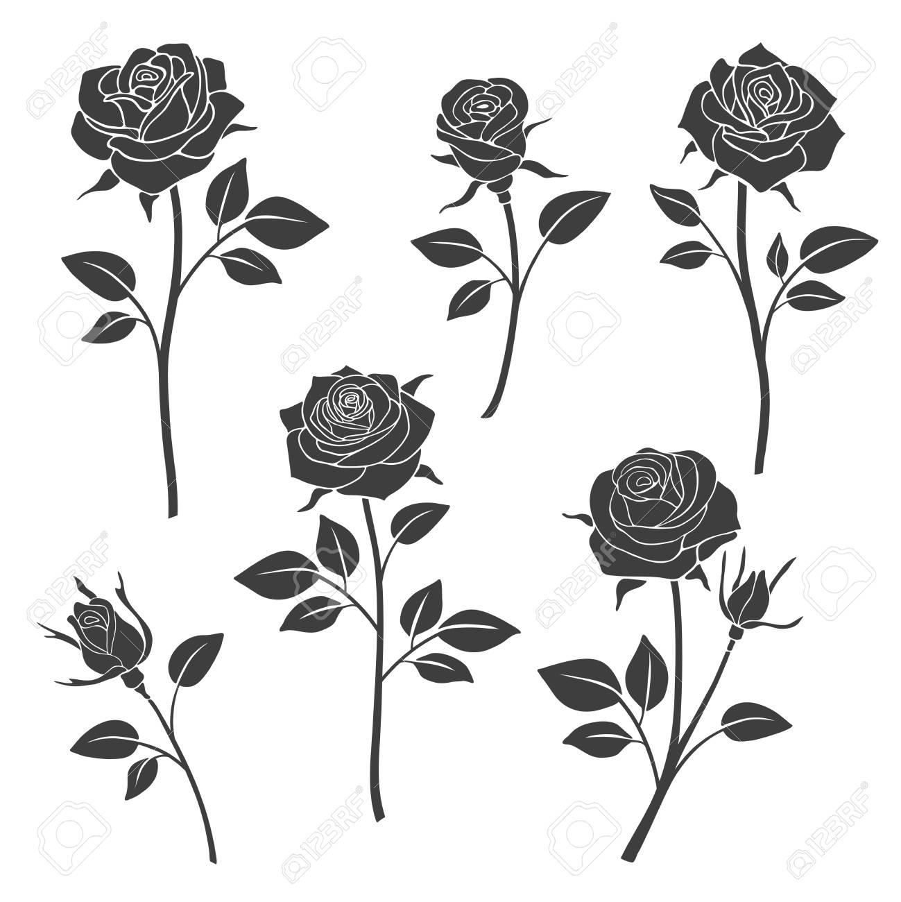 バラの蕾のベクトル シルエット花のデザイン要素白黒薔薇タトゥーの