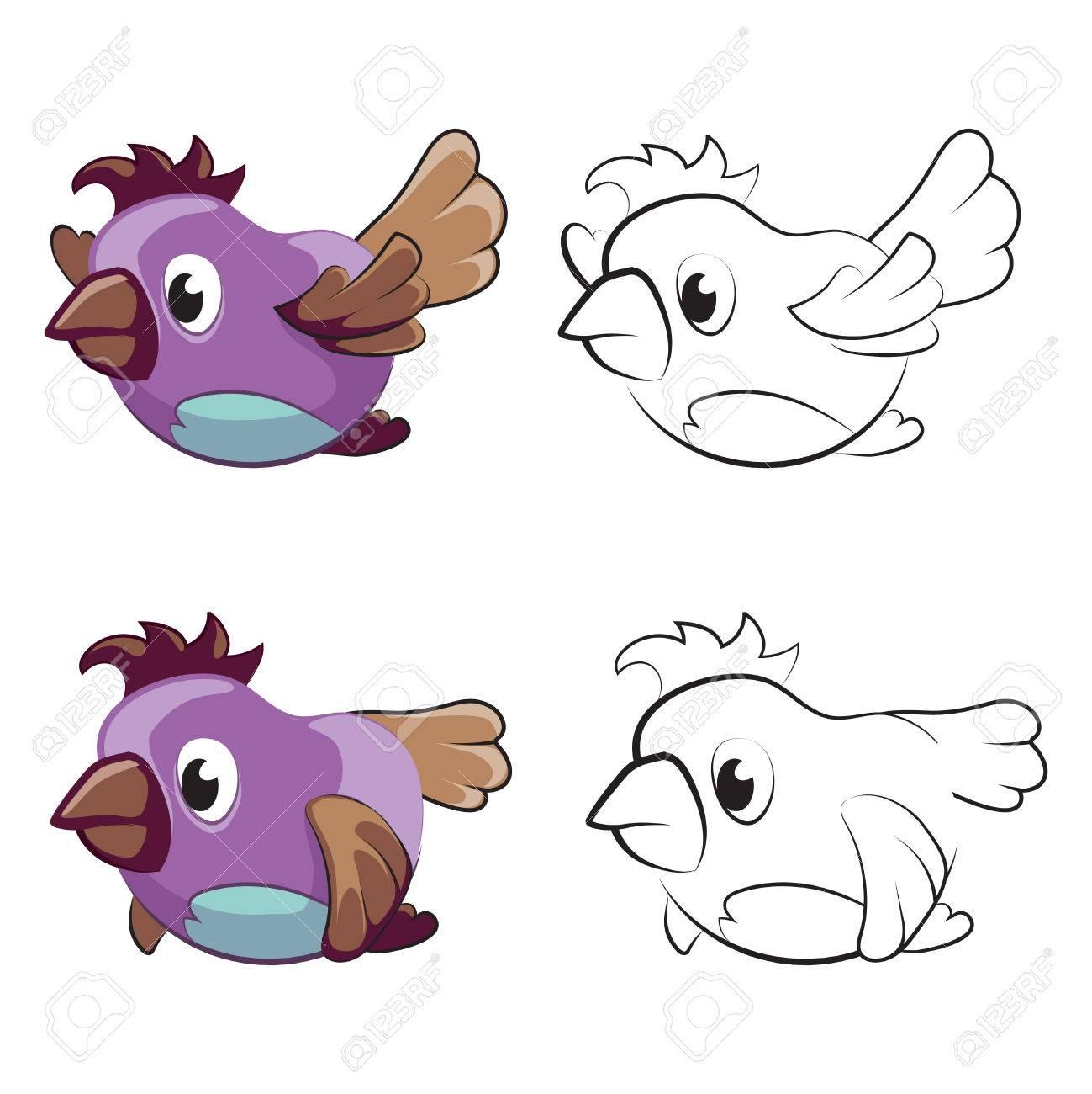Coloriage Pour Enfants Avec Des Oiseaux De Dessin Animé Oiseaux Qui Volent Pour La Coloration Oiseaux De Croquis Colorés Illustration Vectorielle