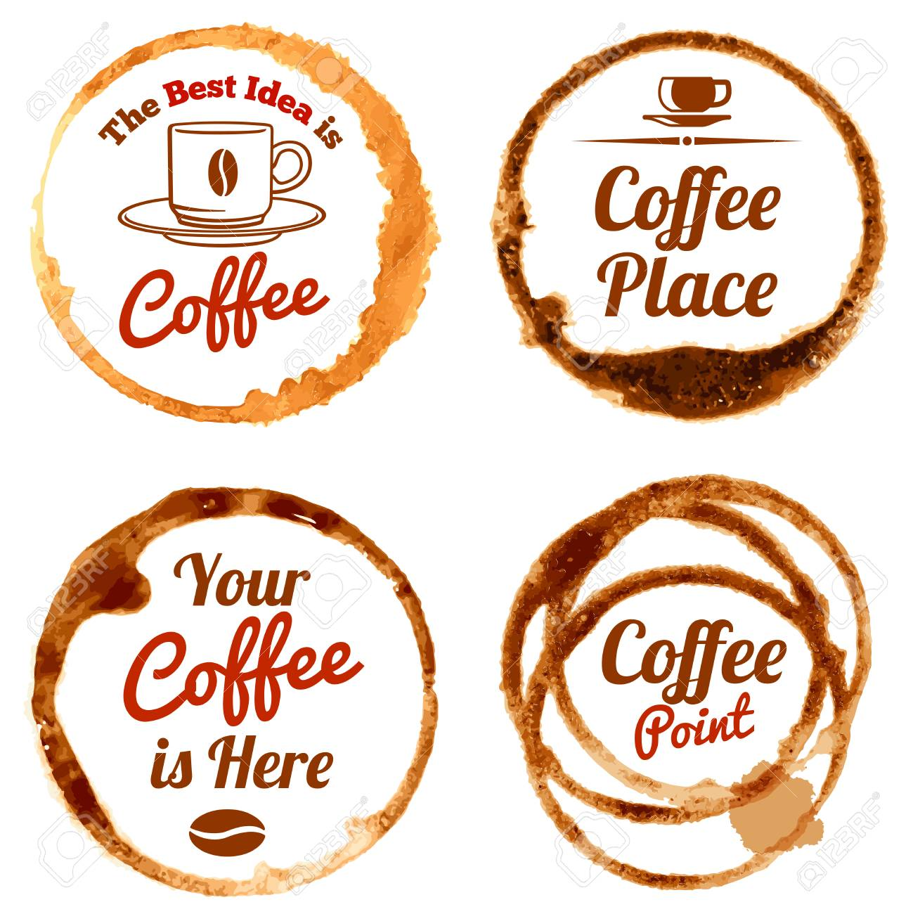 Coffee stains vector logos and labels set coffee circle form coffee stains vector logos and labels set coffee circle form cup illustration stock vector falaconquin