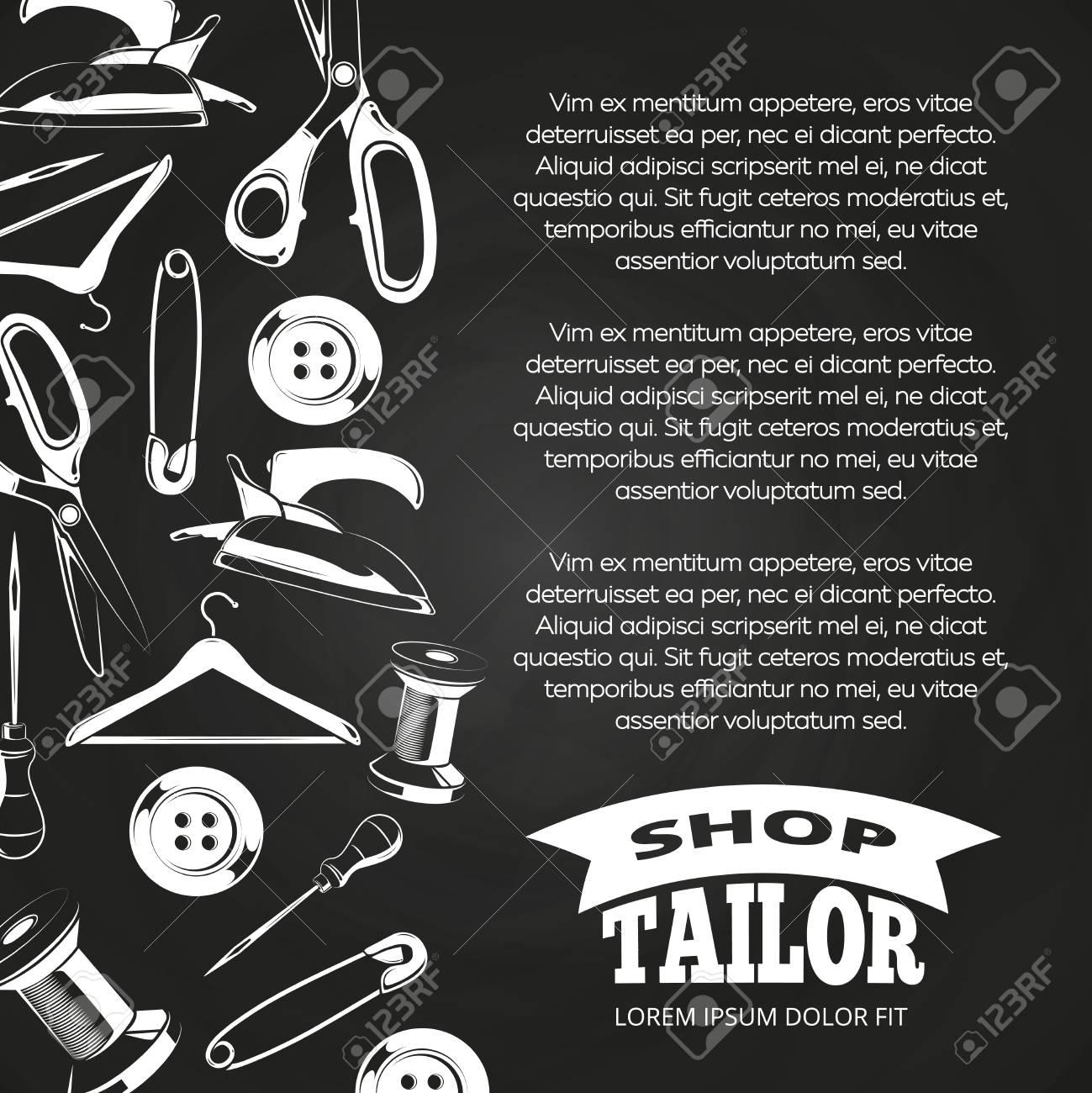 Affiche de tableau de service de tailleur avec bouton, ciseaux, épingle. Illustration vectorielle