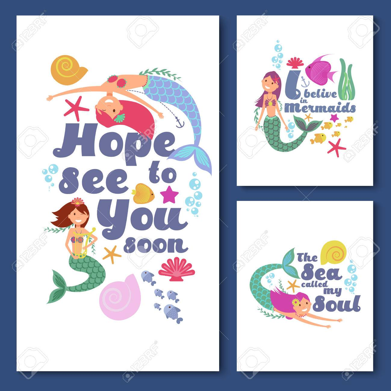 Cute Kids Nautical Vector Cards Marine Childrens Invitations