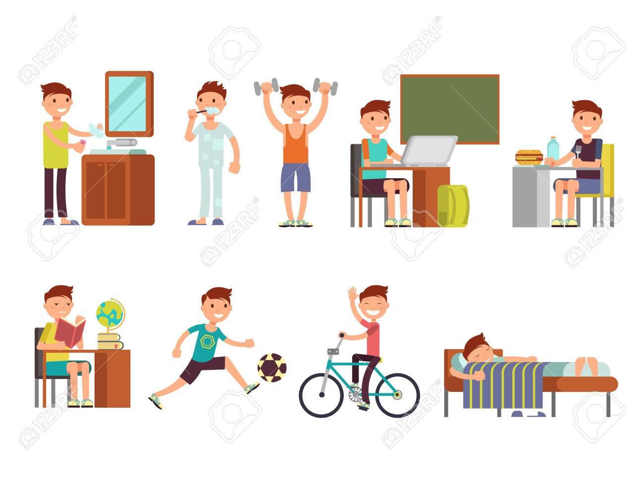 child boy daily routine vector set routine school boy illustration
