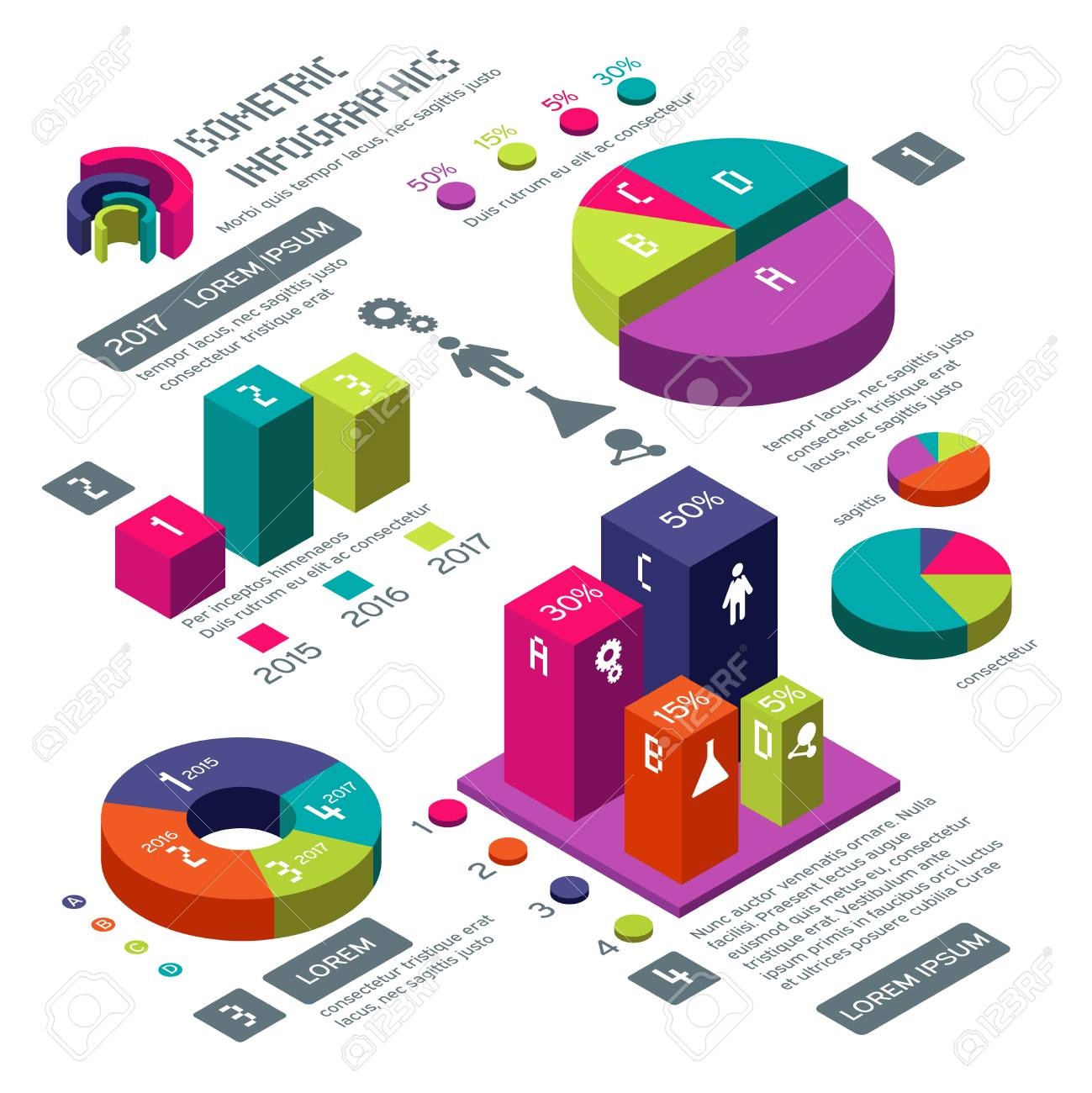 Isometric 3d Business Vector Infographic With Color Diagrams Stock Diagram The Purpose Of An Is To Illustration And Charts Colored For Information Web