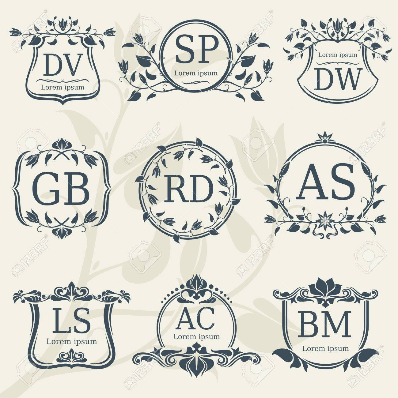 Vintage Elegance Wedding Monograms With Floral Frames. Vector ...
