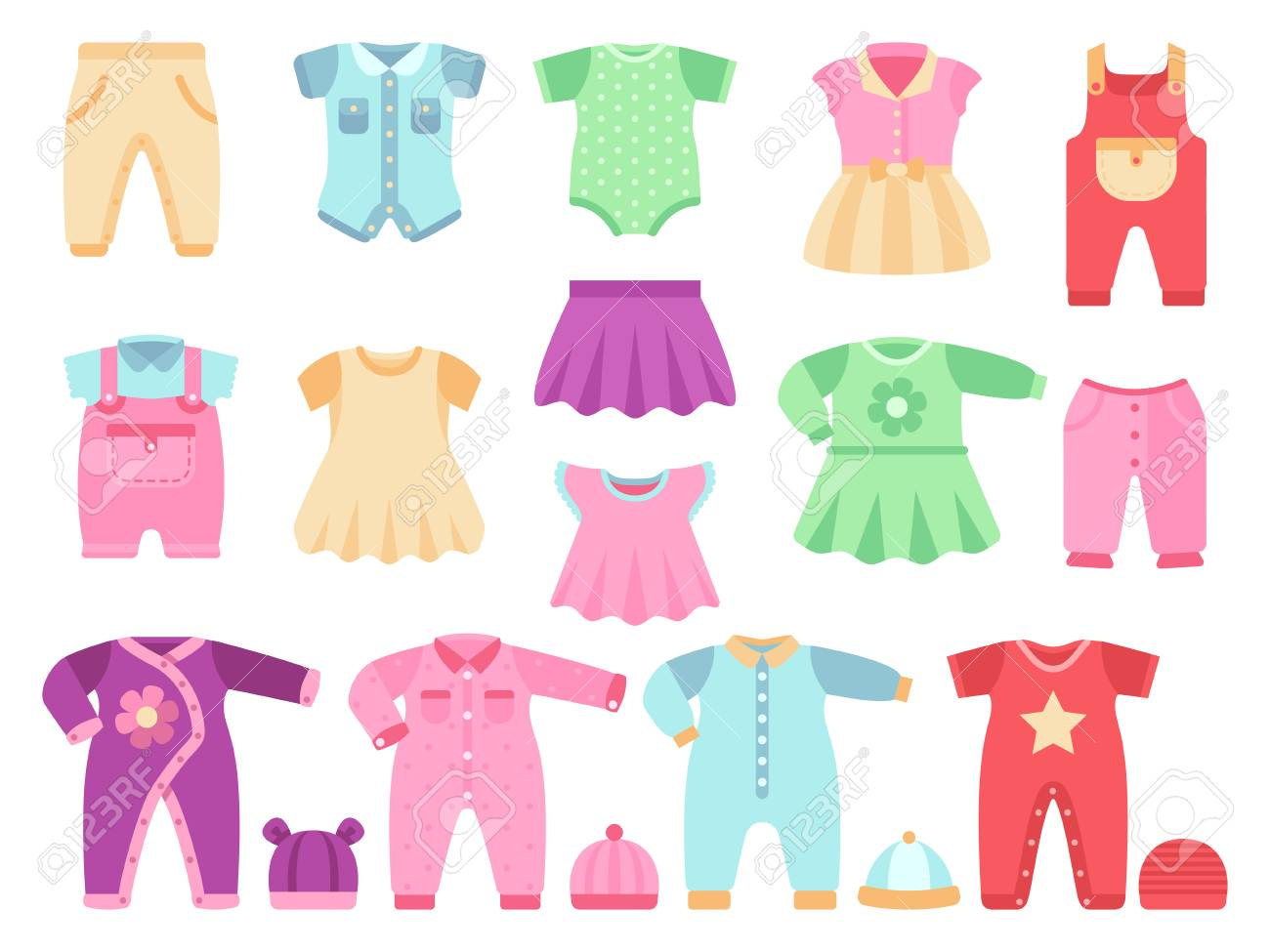 98eb163c2 Colorful Baby Girl Clothes Vector Set. Cloth For Little Girl ...