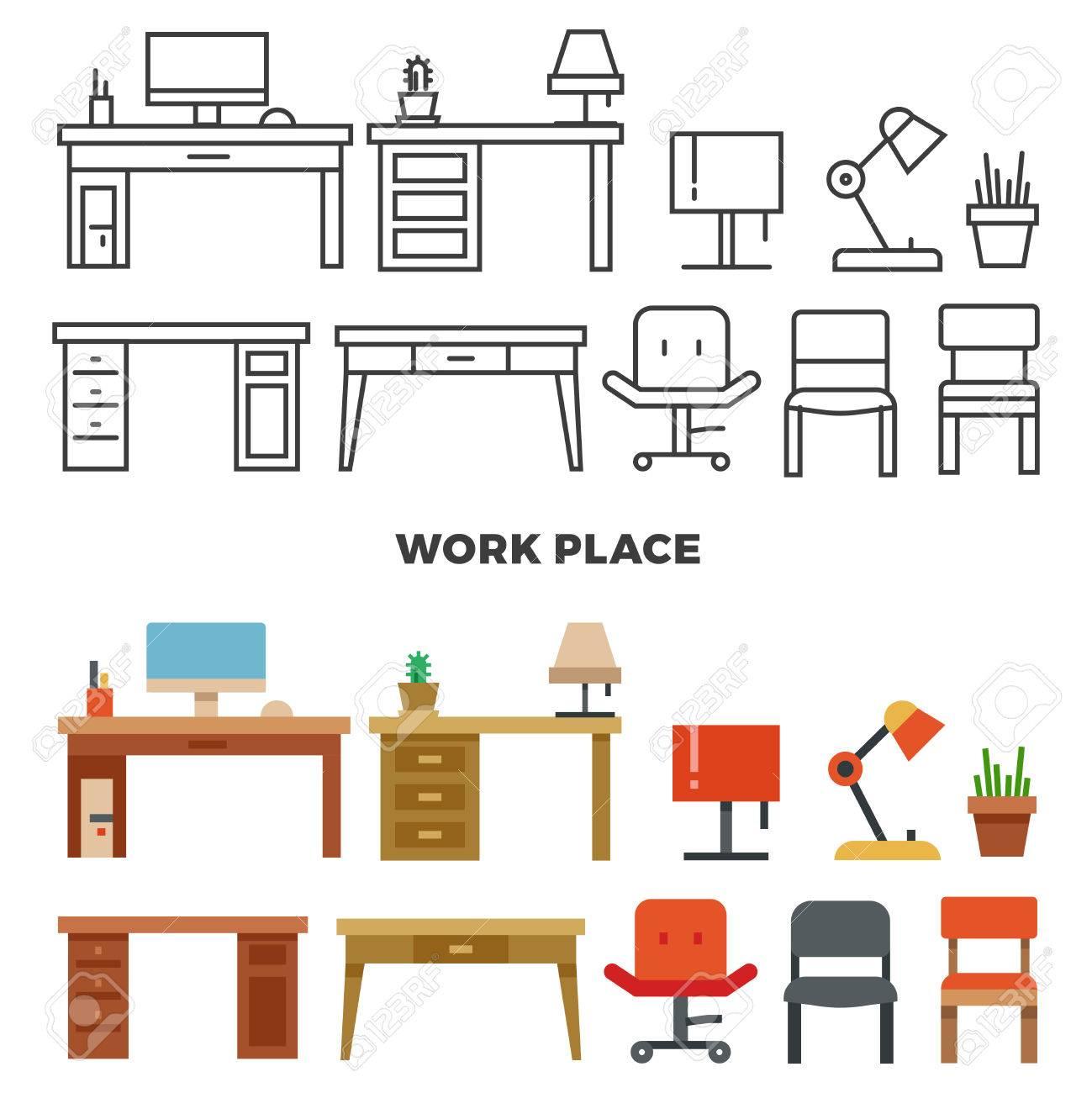 Arbeitsplatz Möbel Und Sammlung   Flache Startseite Design Ikonen. Interior Für  Wohnzimmer Illustration Standard