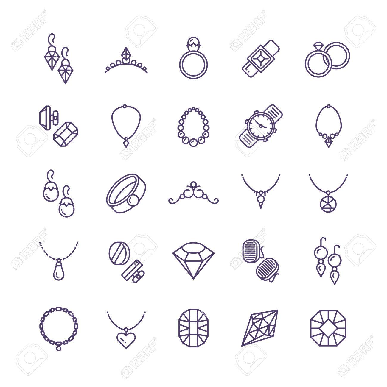 Expensive gold jewelry with diamond vector line icons and wedding