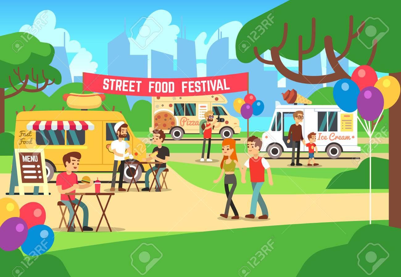 漫画の人やトラックのベクトルの背景で屋台祭り屋台の食べ物祭り市場