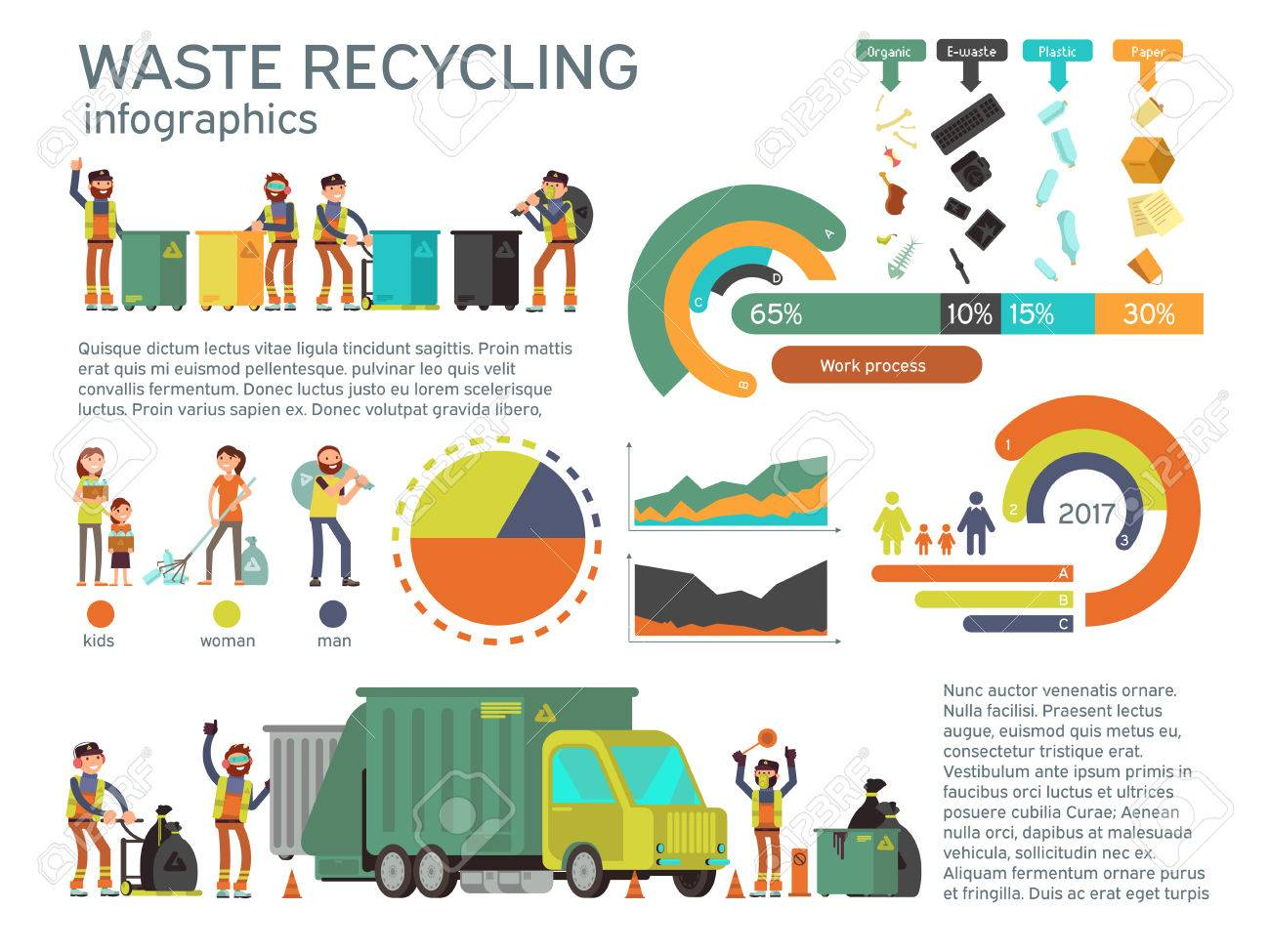 Waste management and garbage collection for recycling vector infographic. Recycling waste and garbage, recycling waste illustration - 83547892