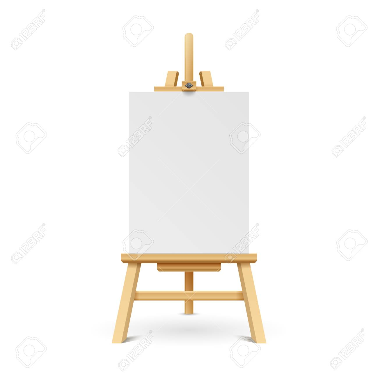 wooden paint board with white empty paper frame art easel stand