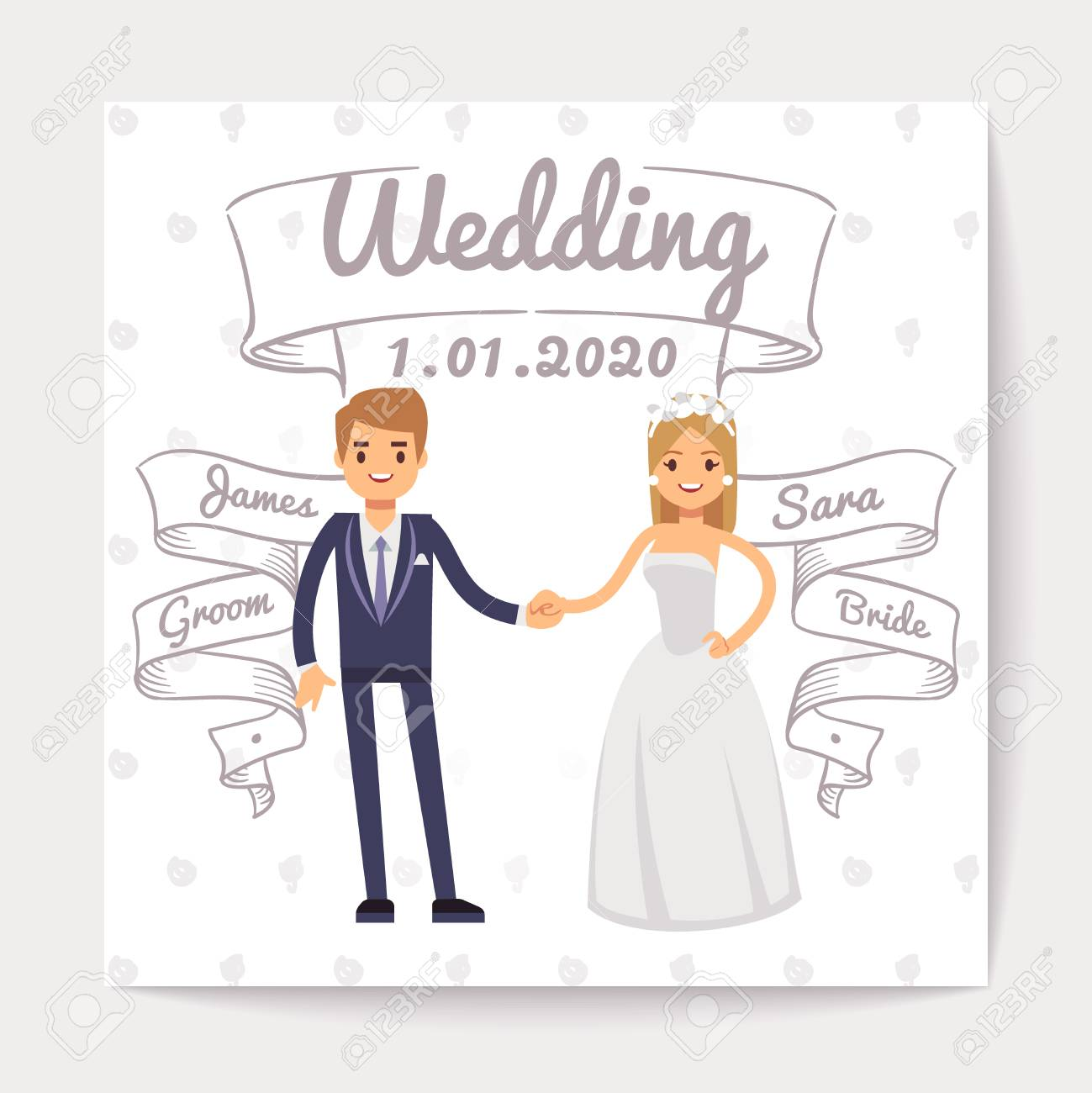 wedding invitation card with just married young couple and them