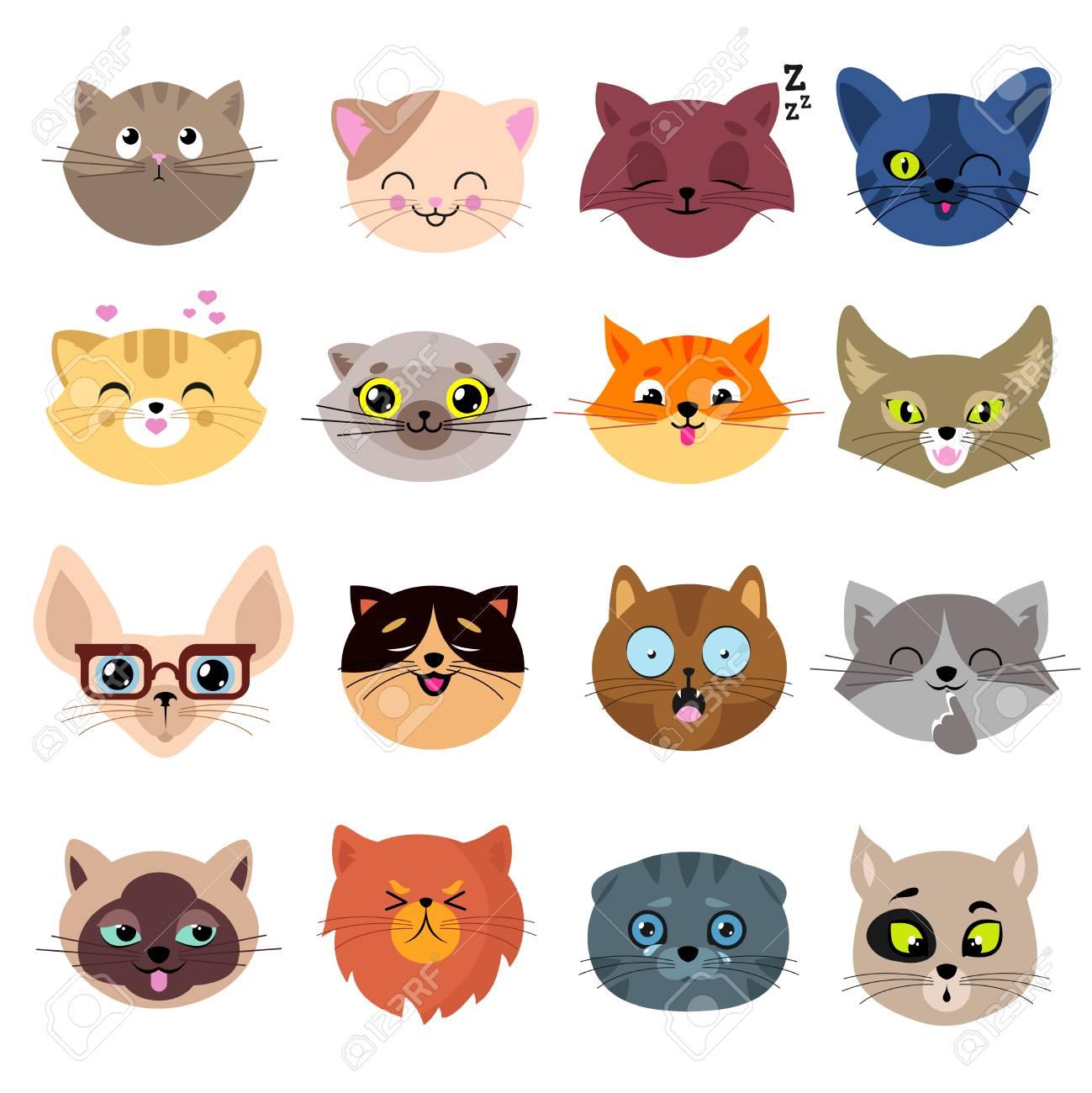 楽しい漫画猫顔 かわいい子猫の肖像画はベクター セットです 漫画猫