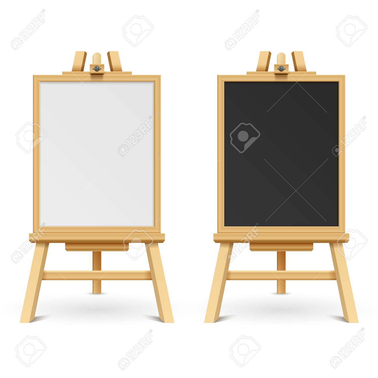School Black And White Blank Boards On Easel Vector Illustration ...