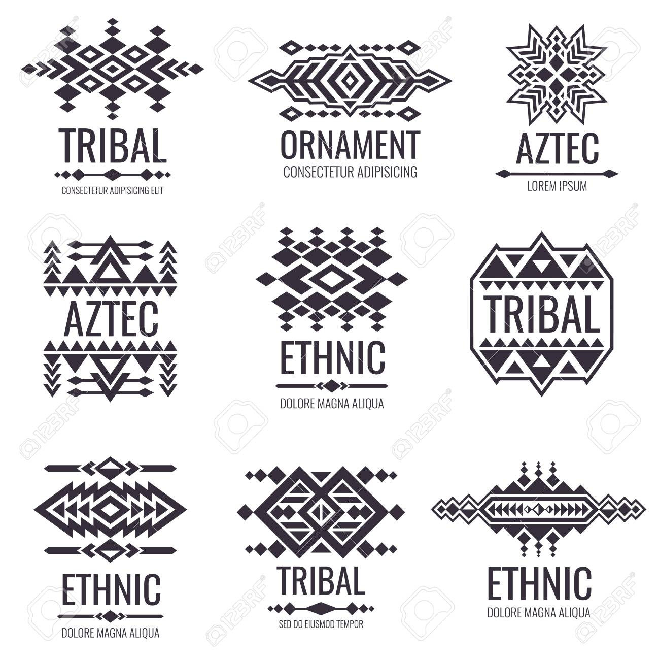 f05e02d57 Tribal aztec vector pattern. Indian graphics for tattoo designs. Indian  aztec tattoo tribal illustration