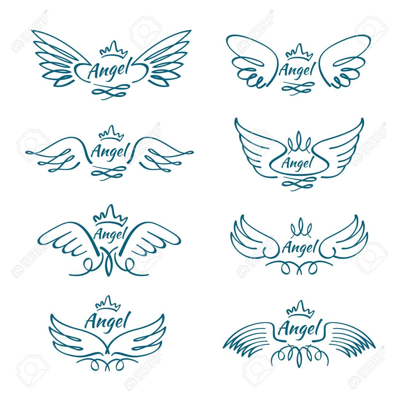 les élégants ailes volantes d'ange. collection de dessin vectoriel