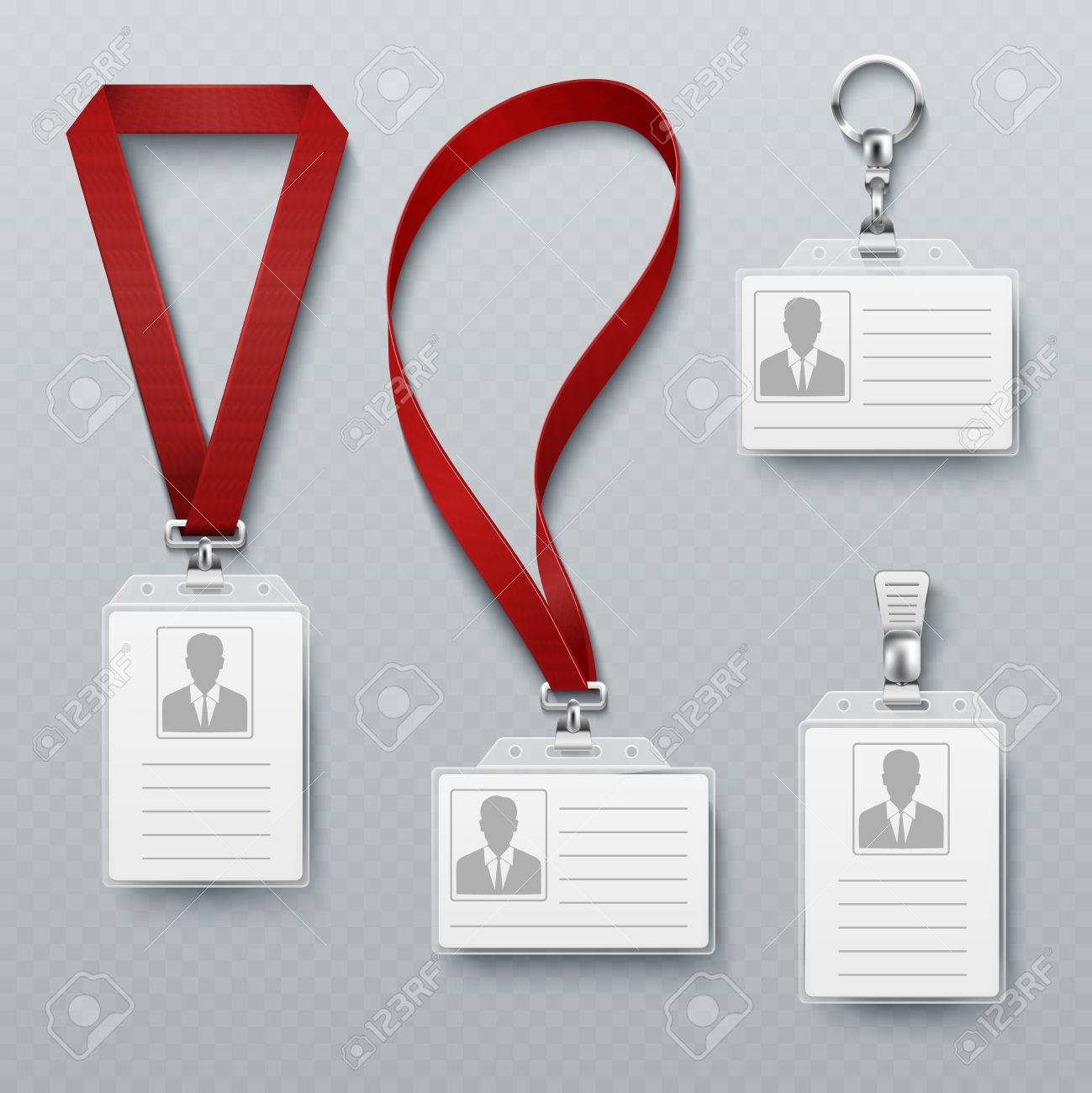 Id Security Cards And Identification Badge With Lanyard Vector Set ...