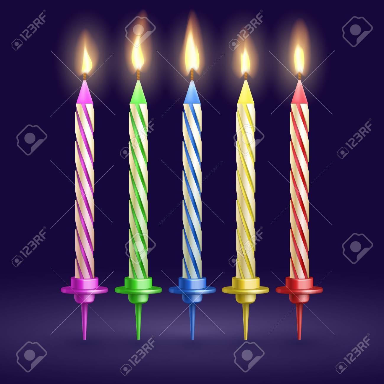 Burned Birthday Party And Xmas Candles Isolated 3d Realistic Vector Illustration Candle Fire For