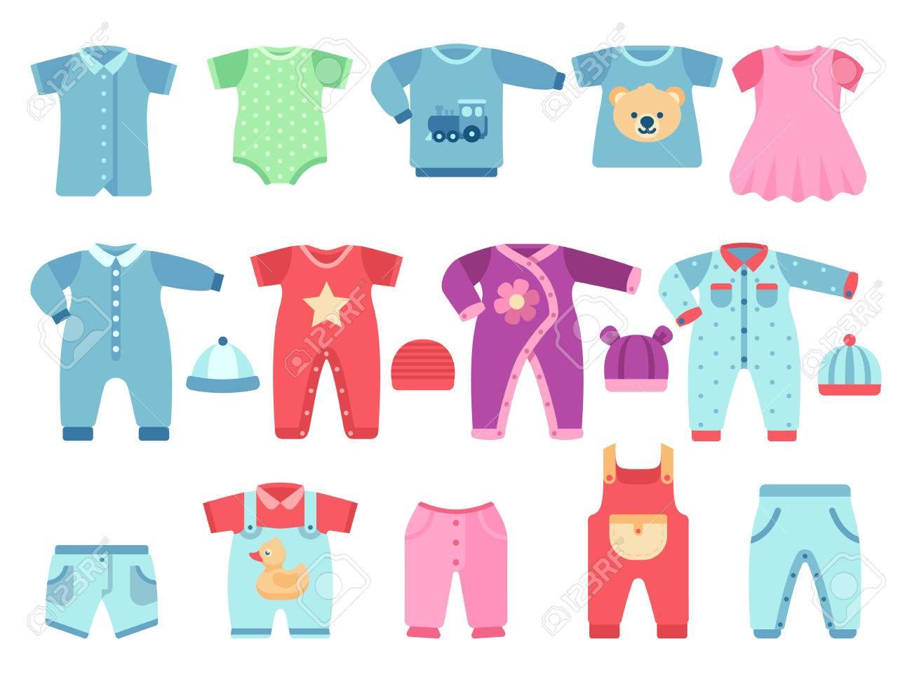 a5883e1fe Foto de archivo - Niño y niña bebé prendas de vestir. Ropa de vector  infantil. Ropa niño vestido de bebé y traje ilustración