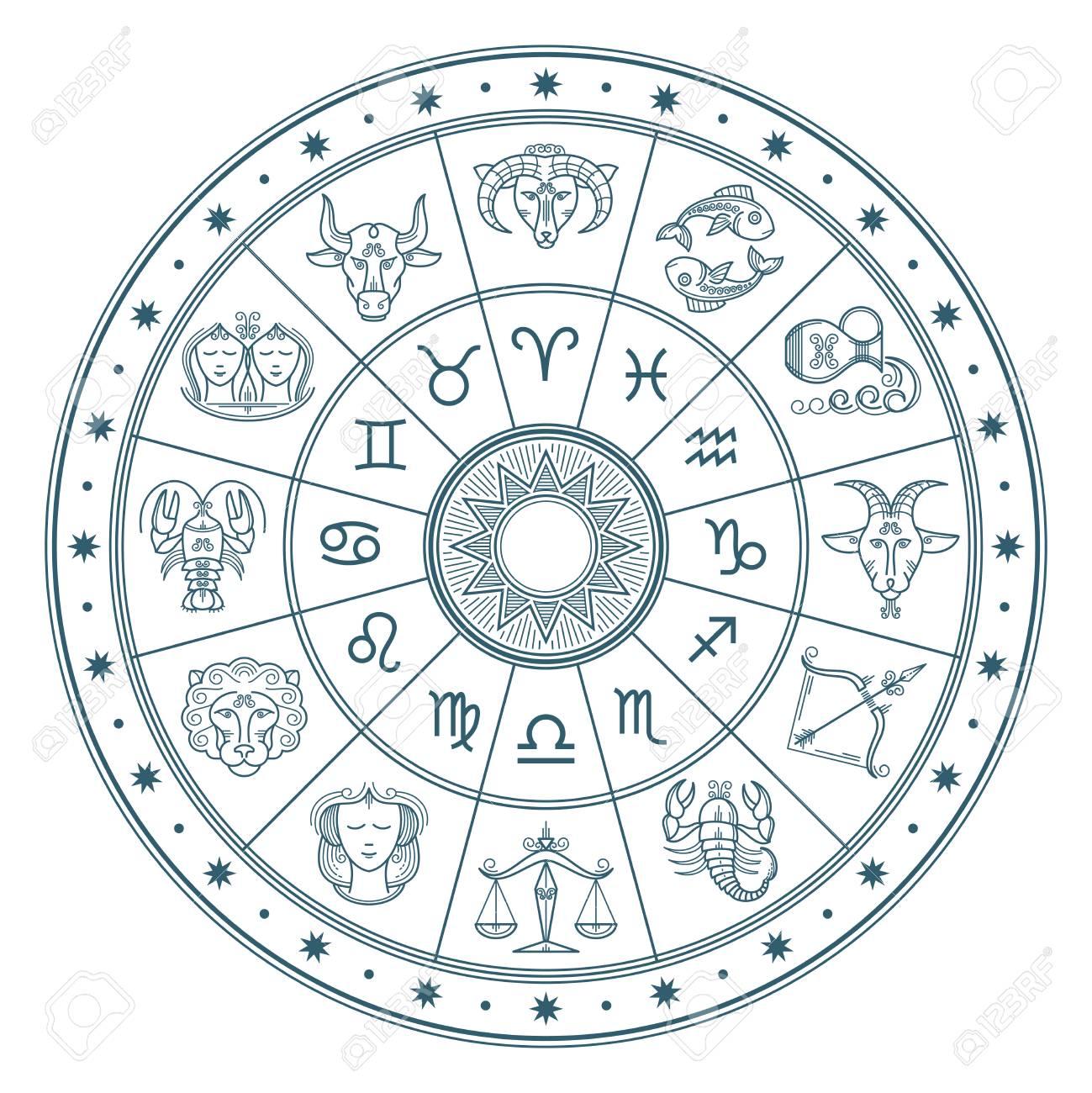 Calendario Zodiacal.El Circulo Del Horoscopo De La Astrologia Con El Zodiaco Firma El Fondo Del Vector Calendario De Horoscopo De Simbolo De Forma Coleccion