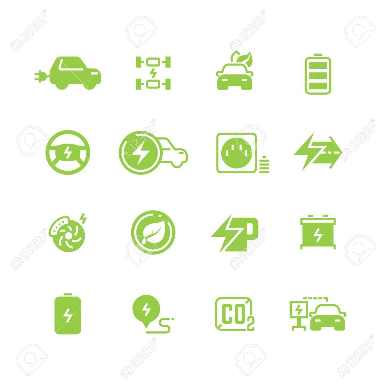 Electrical Charge Symbols And Electric Car Eco Transportation ...