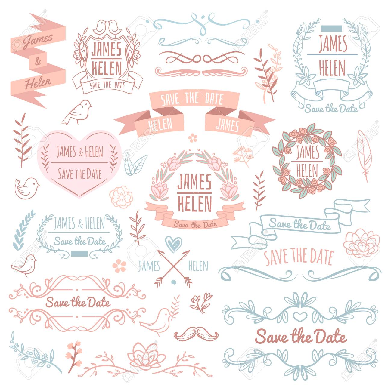 Lements De Vecteur Retro De Mariage Pour Carte D Invitation Design Floral Elegant Et Ornements Rustiques Illustration D Elements Retro Invitation