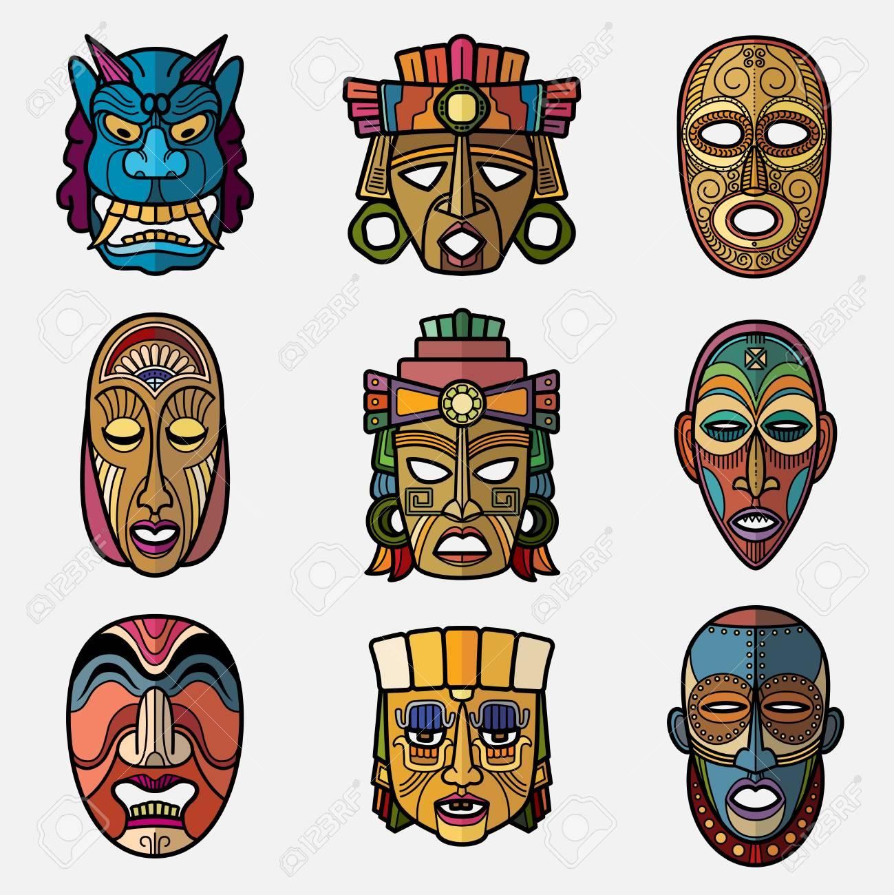 African craft voodoo tribal mask and inca south american culture african craft voodoo tribal mask and inca south american culture totem symbols vector set african buycottarizona Image collections