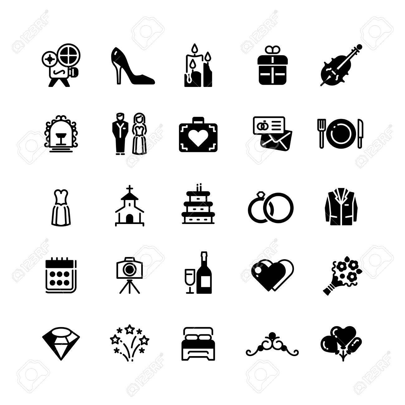 Bridal vector symbols. Wedding vector black silhouette icons..