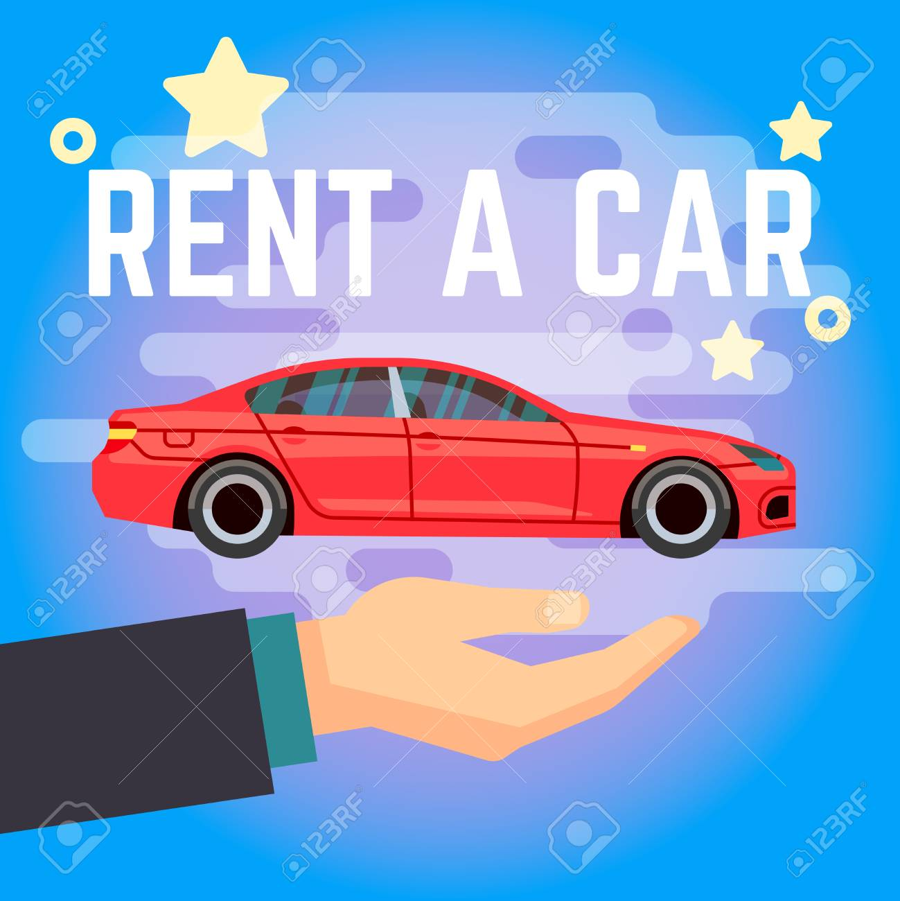 Car Rent Vector Illustration Hand With Flat Style Red Car On Royalty Free Cliparts Vectors And Stock Illustration Image 86851781