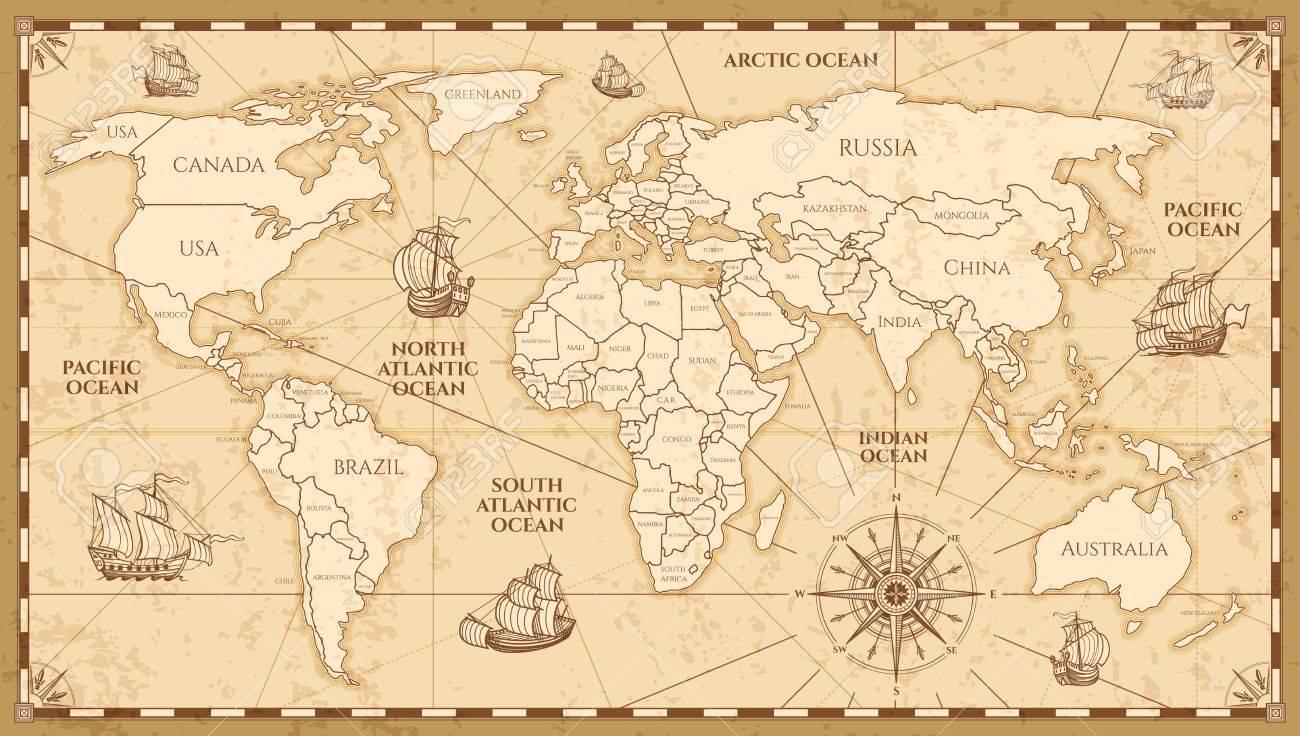 carte du monde antique Carte Du Monde Antique Vector Avec Les Frontières Des Pays. Carte